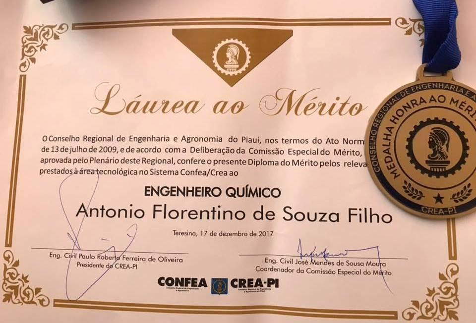 Florentino Filho é laureado com medalha e diploma do mérito pelo Crea-PI